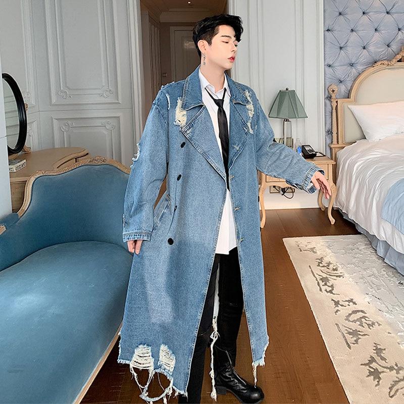 Men Vintage Fashion Streetwear Hip Hop Loose Long Denim Windbreaker Jacket Male Hole Punk Gothic Jean   Trench   Coat Overcoat