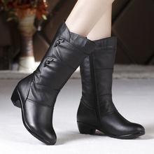 Women Boots Winter Shoes Black Boots Warm Botas Mujer Mid-Calf Shoes Casual Bota Feminina Size 35-42 цены онлайн