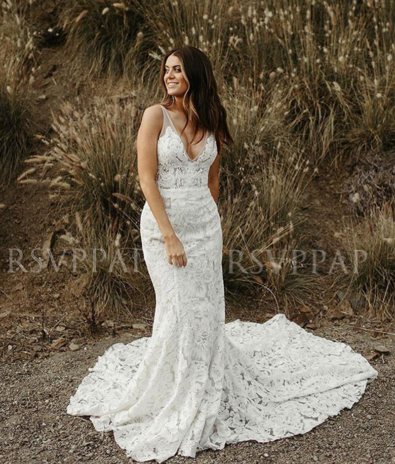 Vintage Mermaid V-neck <font><b>Boho</b></font> <font><b>Wedding</b></font> <font><b>Dress</b></font> <font><b>2019</b></font> <font><b>Sexy</b></font> <font><b>Backless</b></font> Bridal Ivory Lace Beach Bohemian <font><b>Wedding</b></font> Gowns image