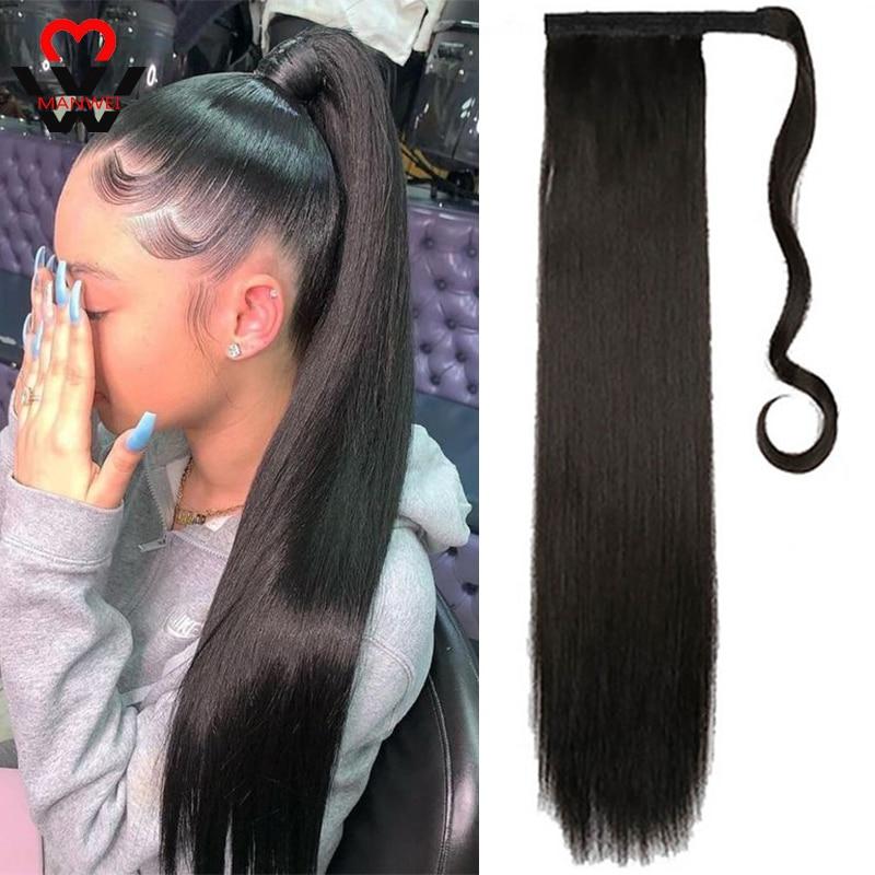 Длинные прямые накладные волосы MANWEIWomen на клипсе, хвостик с заколками для волос, синтетические волосы для наращивания хвостиков