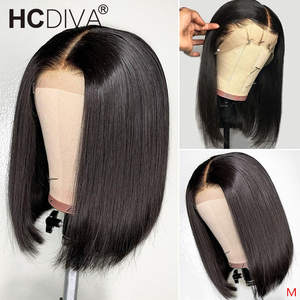 Lace-Wig Human-Hair Short Bob Pre-Plucked Remy Straight Brazilian with 13--4 150-%