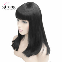 StrongBeauty Women's Synthetic Wigs Hair Black/Blonde Long Straight Neat Bang Style Natura Wig Hair цена 2017