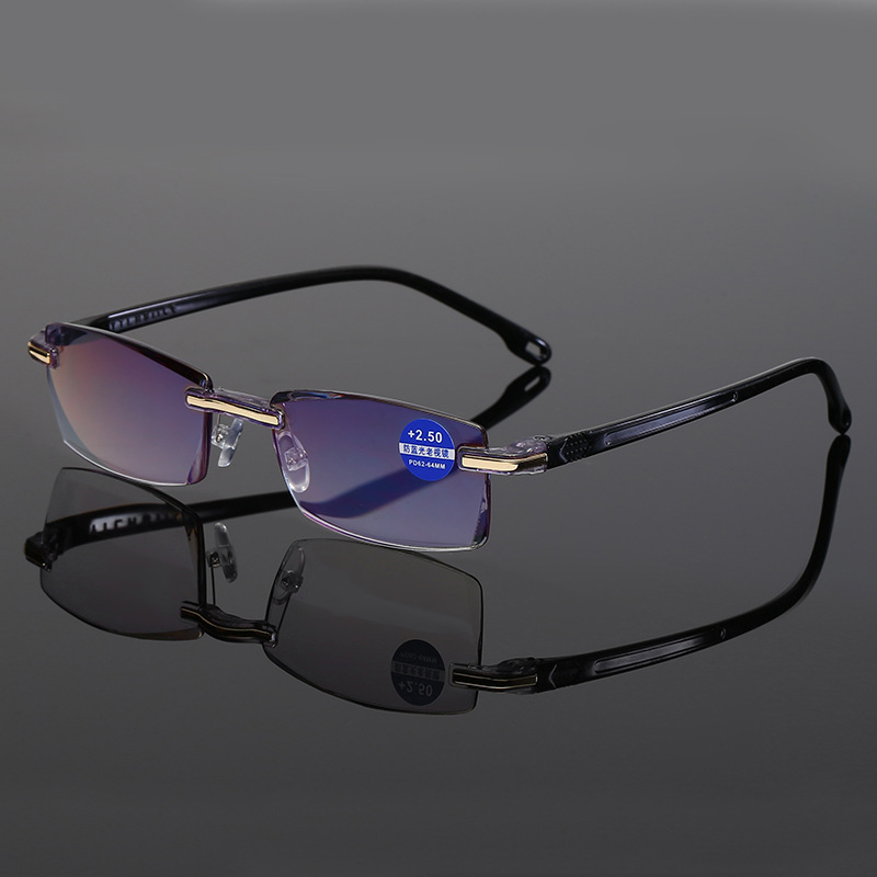 New Arrival Reading Glasses Anti-blue Light Blue Film Men's Presbyopic Business Eyewear Glasses +1.0+1.5+2.0+2.5+3.0+3.5+4.0