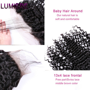 Image 5 - Lumiere Hair Deep Wave Bundles With Frontal Brazilian Hair Weave 3 Bundles With 13x4 Lace Frontal Remy 100% Human Hair Color 1B
