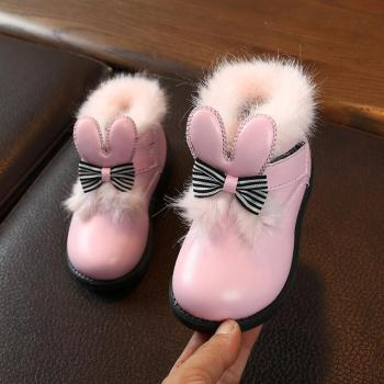 Girls Snow Boots With Fur Fashion Soft Leather Toddler Ankle Boots Princess Bow Shoes For Baby Girls Kids Boots Pink