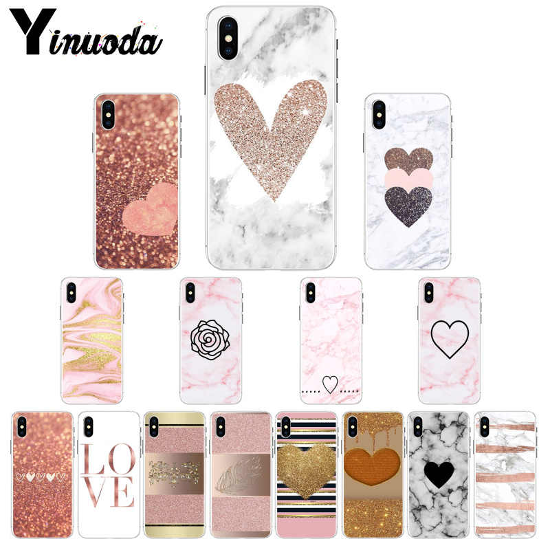 Yinuoda Love Heart Gold Rose Marble Stripes กรณี Protector สำหรับ iPhone 6S 6plus 7 7plus 8 8 plus X Xs MAX 5 5S XR 11 pro max