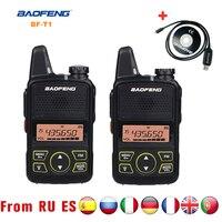 Baofeng BF-T1 미니 워키 토키 UHF 휴대용 양방향 라디오 BF T1 햄 라디오 핸드 헬드 FM 송수신기 키즈 5km CB 라디오 인터폰