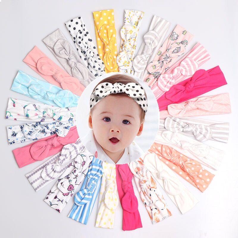 20Pcs/Lot Baby Girl Headband Hair Accessories Cotton Rabbit Ear Baby Headwear Turban Bowknot Elastic Hairband Baby Headband