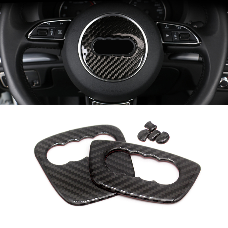 For <font><b>Audi</b></font> Q5 <font><b>A4</b></font> A3 A6 Q3 Q7 Interior Carbon Fiber Steering Wheel Panel Cover Trim Sticker image