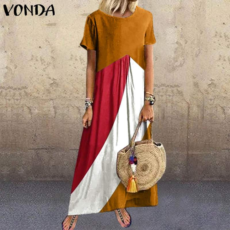 S-5XL Patchwork Print Dress VONDA Casual Bohemian Cotton Dresses Female <font><b>Vintage</b></font> Robe 2020 Summer Sundress Loose Party <font><b>Vestidos</b></font> image