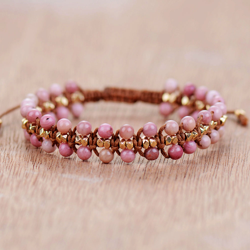 Unique Rhodonite Gold Beads Wrap Bracelets Wholesale Handmade Bohemia Weaving Bracelet Birthday Gift Boho Jewelry Dropship(China)