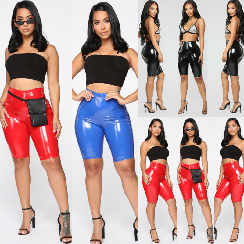 Sexy Bodycon Pu Women Solid Color Shorts Elastic Slim High Waist Summer Casual Skinny Shorts Newly 2019 Fashion