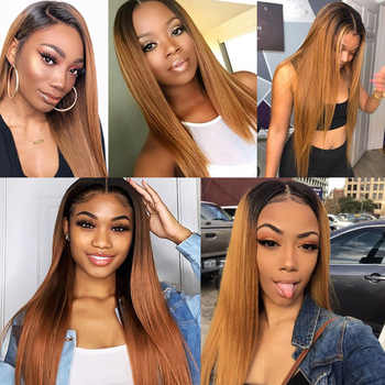 Ombre Honey Blonde Bundles With Closure Peruvian Straight Human Hair 3 Bundles With Closure Brown 1B 30 Shining Star Remy Hair