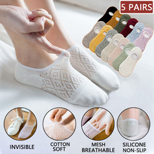 5 Pairs Women Silicone invisible Socks Summer Solid Color Mesh Ankle Boat Socks Female Cotton Slipper Socks