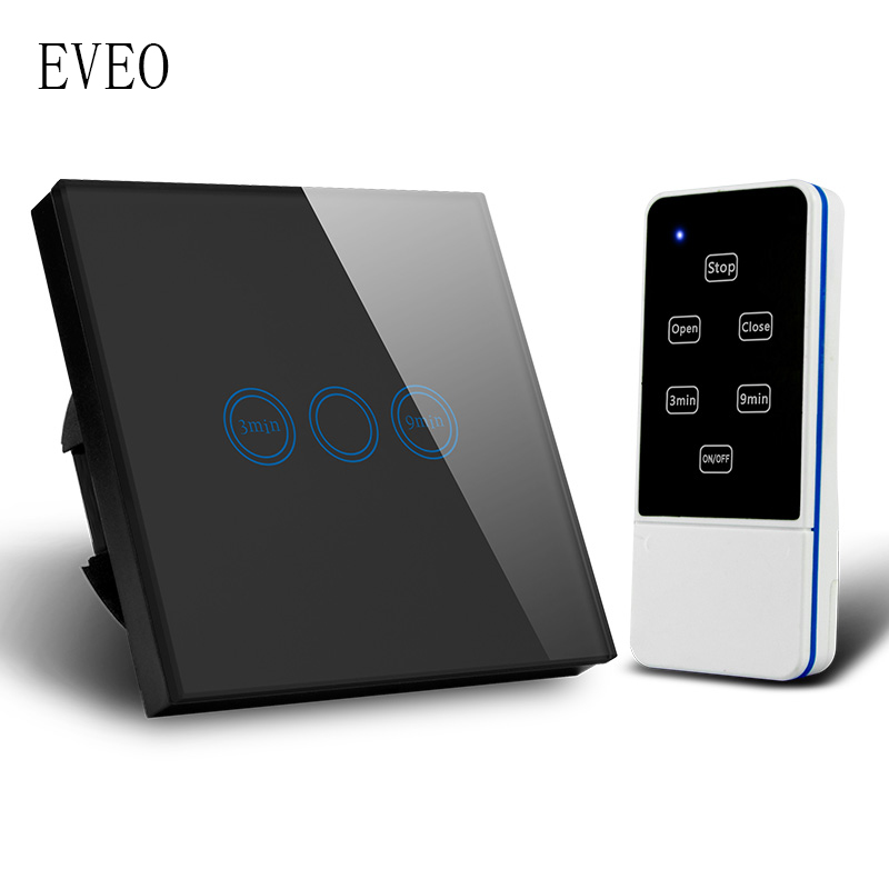 EVEO, interrupteur Standard EU, interrupteur lumineux, interrupteur mural, interrupteur tactile, interrupteur minuterie, panneau en verre trempé, avec télécommande