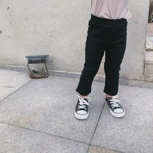 Штаны для маленьких девочек с вырезами на ботинках г., новые осенние обтягивающие эластичные штаны в Корейском стиле для маленьких детей черные штаны