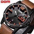 Часы DOM мужские  спортивные  кварцевые  водонепроницаемые  с большим циферблатом  кожа  M-1218