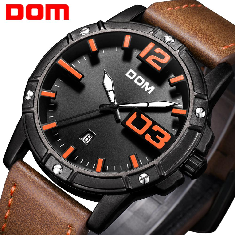 DOM 2018 New Watch Men Big Dial Stylish Sport Quartz Clock Waterproof Leather Mens Watches Brand Luxury Relogio Masculino M-1218