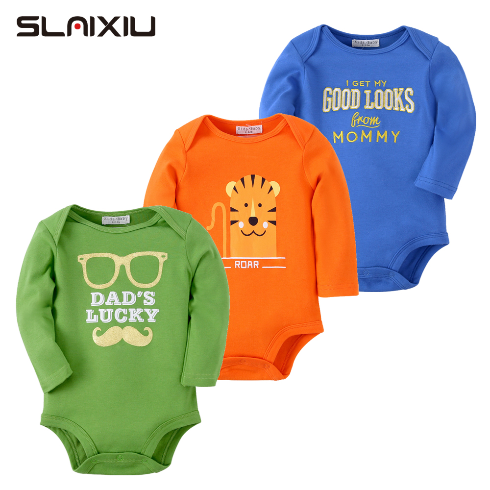 3pcs Cartoon Baby Bodysuit Girls & Boys Winter Clothes Newborn Infant Body Bebes Baby Jumpsuit Ropa Sleeve Bodysuit