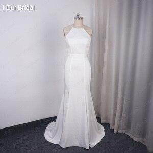 Image 5 - פשוט קרפ שמלות כלה באיכות גבוהה סאטן נדן Keyhole חזור ייחודי כלה שמלה