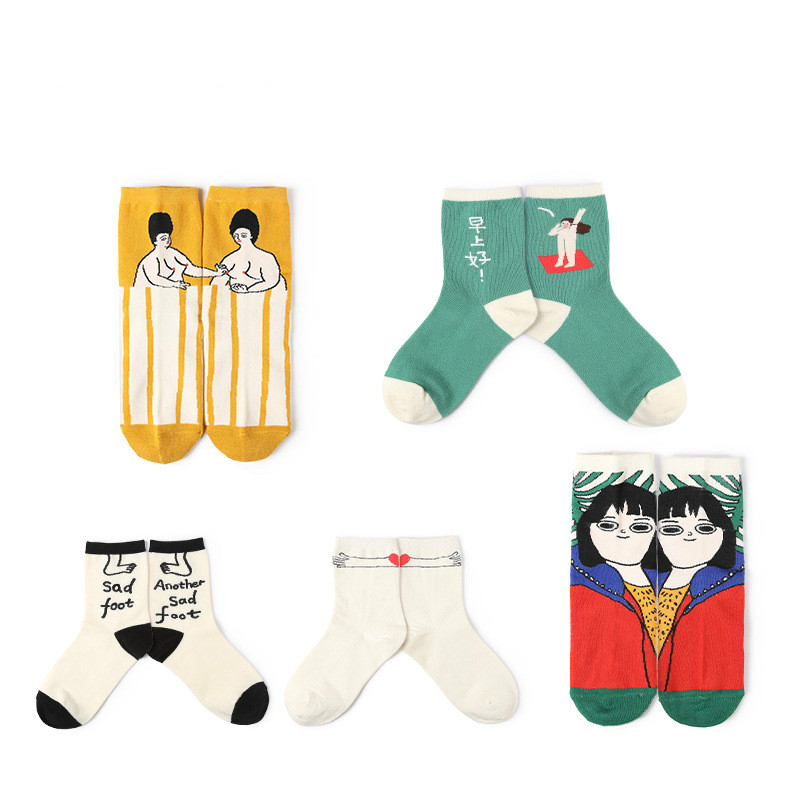 New Fashion Streetwear Women Art Socks Cute Illustration Japanese Korean Harajuku Style Funny Socks Women For Autumn 18