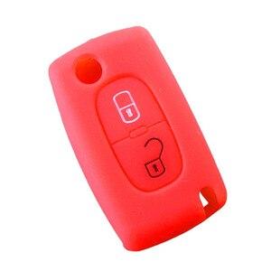 Image 2 - 2 boutons Silicone clé de voiture couvre étui pour PEUGEOT 207 307 308 407 408 pour Citroen C3 C4 C4L C5 C6 housse de protection