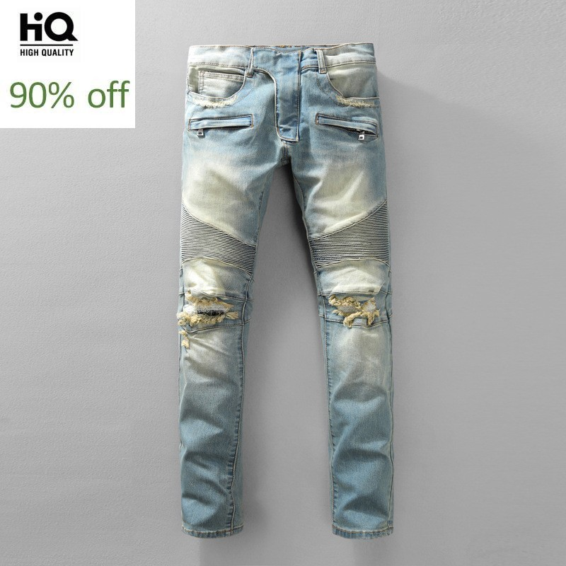 European Style Biker Jeans Men High Street Mens Hole Ripped Jeans Vintage Washed Skinny Denim Pants Men Plus Size Zippers Casual
