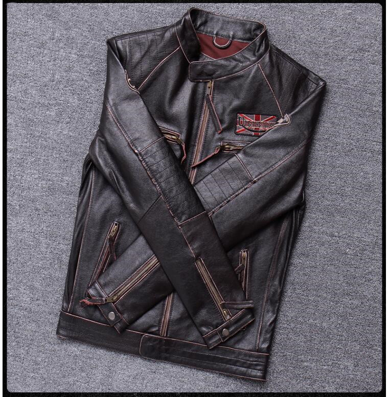 H943aec4a14e4421ea6b39d8dc0ad8071L 2019 Vintage Brown Men Slim Fit Motorcycle Leather Jacket Plus Size XXXXL Genuine Cowhide Spring Biker's Coat FREE SHIPPING