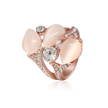 NJ Elegant Pink Water-drop Shaped Rose Gold Woman Rhinestone Ring Chic Woman Rings For Party Wedding For Girls Jewelry Gift