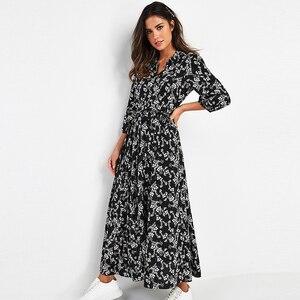 Image 5 - 女性のエレガントなロングプリントドレス 3 分袖ボヘミアンマキシドレスターンダウン襟 vestidos mujer