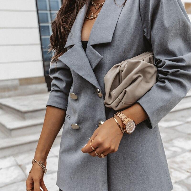 Autumn Elegant Double Breasted Office Blazer Formal Suit Coat For Women Lady Leisure Jacket 2020 Winter OL Blazers Fit Outwear