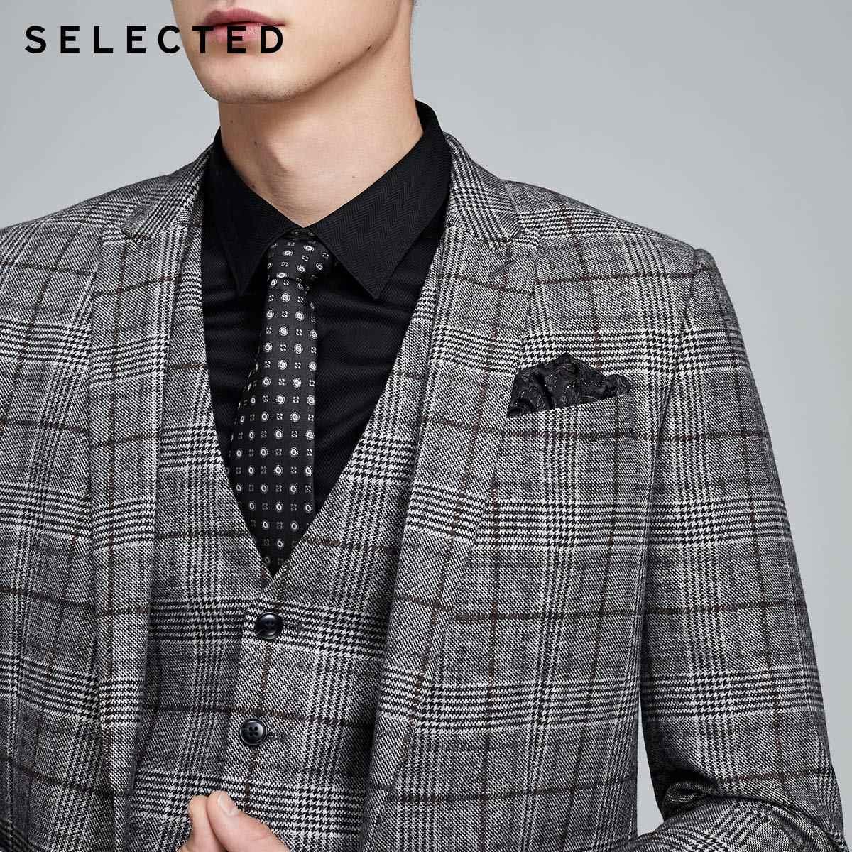 SELECTED 남성 모직 체크 무늬 슬림 피트 모직 비즈니스 캐주얼 블레이저 S | 419472513