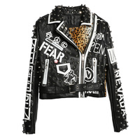 2020 Spring Punk Style Women Jacket Coat Rivest Beading Leopard Print Cool 2XL Women Pu Leather Coat Top Quality Chaqueta Mujer