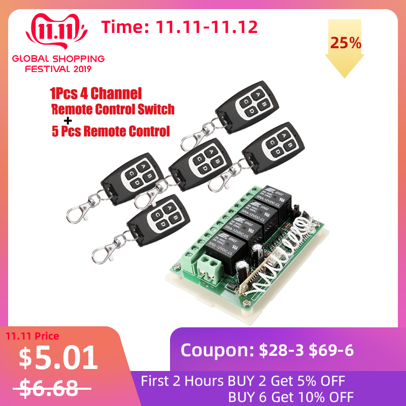 Wireless Remote Control RF Switch 433mhz DC 12V 4CH 4 Channel Wireless Remote Control Switch Relay Receiver Module Transmitter-in Switches from Lights & Lighting