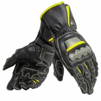 New 4 Colors 100% Genuine Leather Dain Full Metal 6 Motorcycle Gloves Racing Long Gloves Driving Motorbike Cowhide Gloves