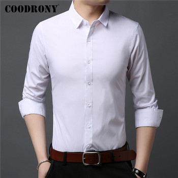 COODRONY Long Sleeve Shirt Men Clothes Spring Autumn Pure Color Cotton Mens Shirts Business Casual Camisa Social Masculina C6020 2018 spring cotton dress shirts for men good quality long sleeve camisa social masculina hawaiian shirt