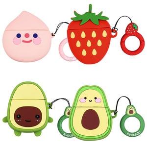 Чехол для наушников для Airpods 2 чехол силиконовый милый авокадо фруктовый чехол с клубникой для Apple Air pods 2 аксессуары чехол для наушников