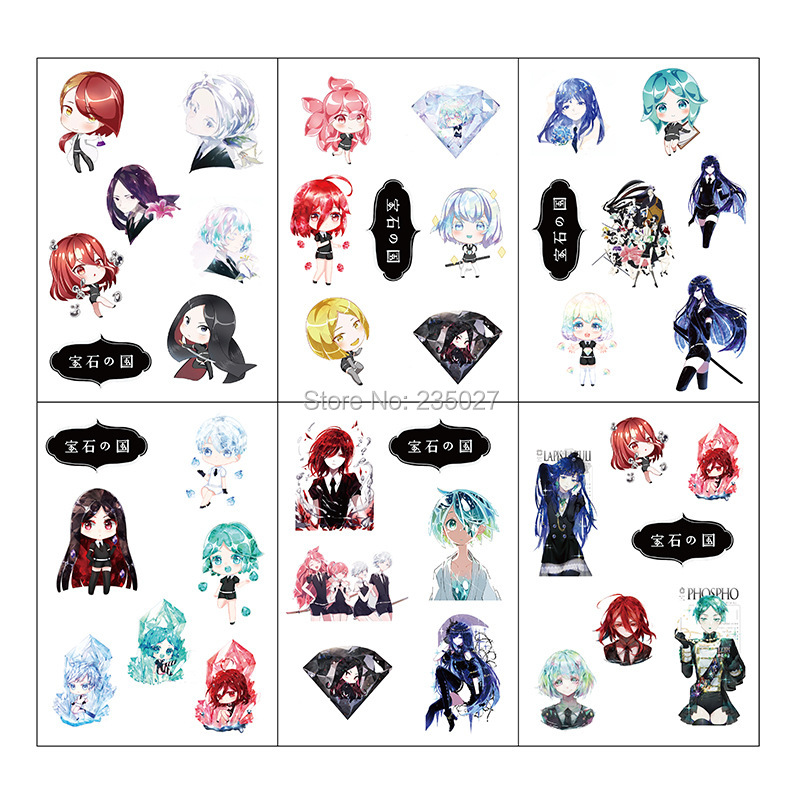 120 Sheets/lot Anime Land Of The Lustrous Sticker Phosphophyllite Cinnabar Cartoon Wall Stickers For Kids Rooms Gifts
