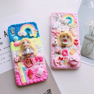 Image 4 - For iphone X/XS Max DIY case 3D sailor moon phone cover for iphone 8 7 6 6s plus XR handmade cream candy flower case girl gift