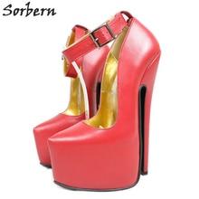 Sorbern Genuine Leather Matt Ankle Strap Women Pumps 20Cm Extreme High Heels Steel Thin Heel Shoes Ladies Platform Heels Plus