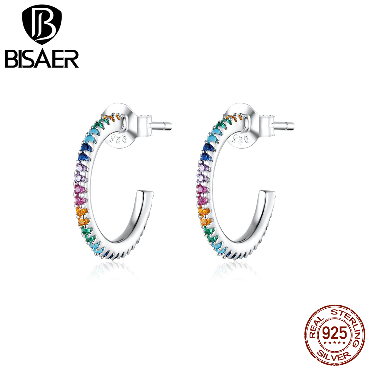 Stud Earrings BISAER 2020 New 925 Sterling Silver Rainbow Color Zircon Women Earrings Clear Cubic Zircon Silver Jewelry ECE837