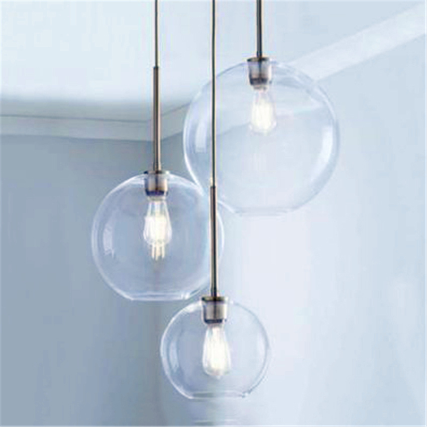 Modern Pendant Lights Lighting LOFT 3 Color Glass Pendant Lamp Ball Hanging Lamps Kitchen Fixtures Dining Living Room Luminaire|Pendant Lights| |  - title=