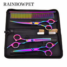 7 Inch Dog Grooming Scissors Stainless Steel Comb Thinning Pet Cats Barber Dog Grooming Scissors Kit For Dogs Cutting Hair