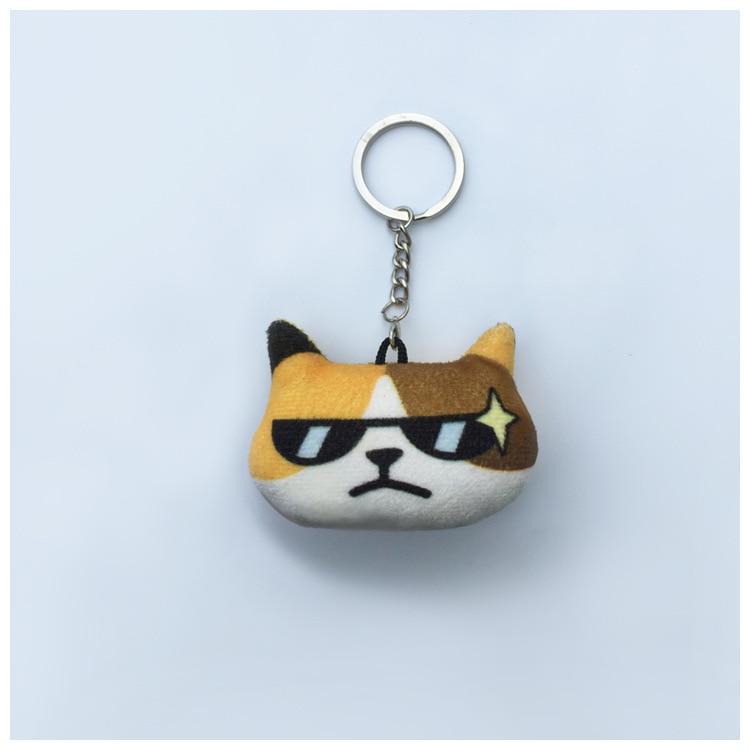 Creative gift cat head keychain 3d printed key ring small pendant key ring ( 5.5cm*7cm)