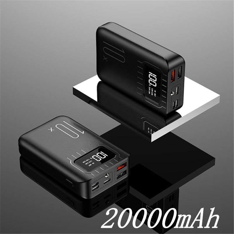 Внешний аккумулятор 30000 мАч Внешний аккумулятор портативное быстрое зарядное устройство для всех смартфонов с зарядным устройством банк полный экран водонепроницаемый - Цвет: Black 20000mAh
