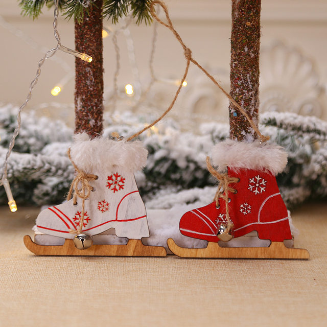 2pcs/set Wooden Snowflake Gloves Sleigh Bells Hanging Pendant Christmas Tree Decoration Ornaments Christmas Decorations for Home 15