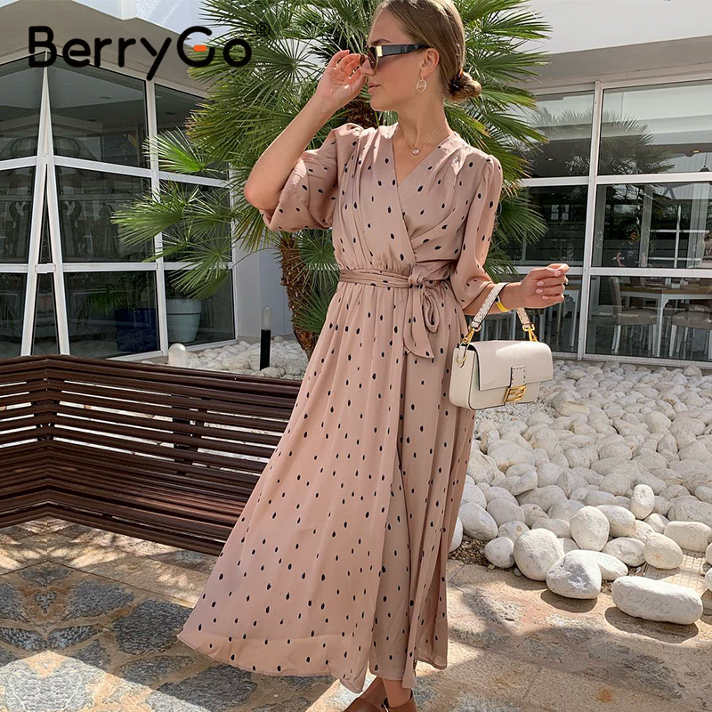 Berrygo Elegant Women Dress Sash Puff-Sleeve Work-Wear Streetwear-Wrap Polka-Dot V-Neck title=