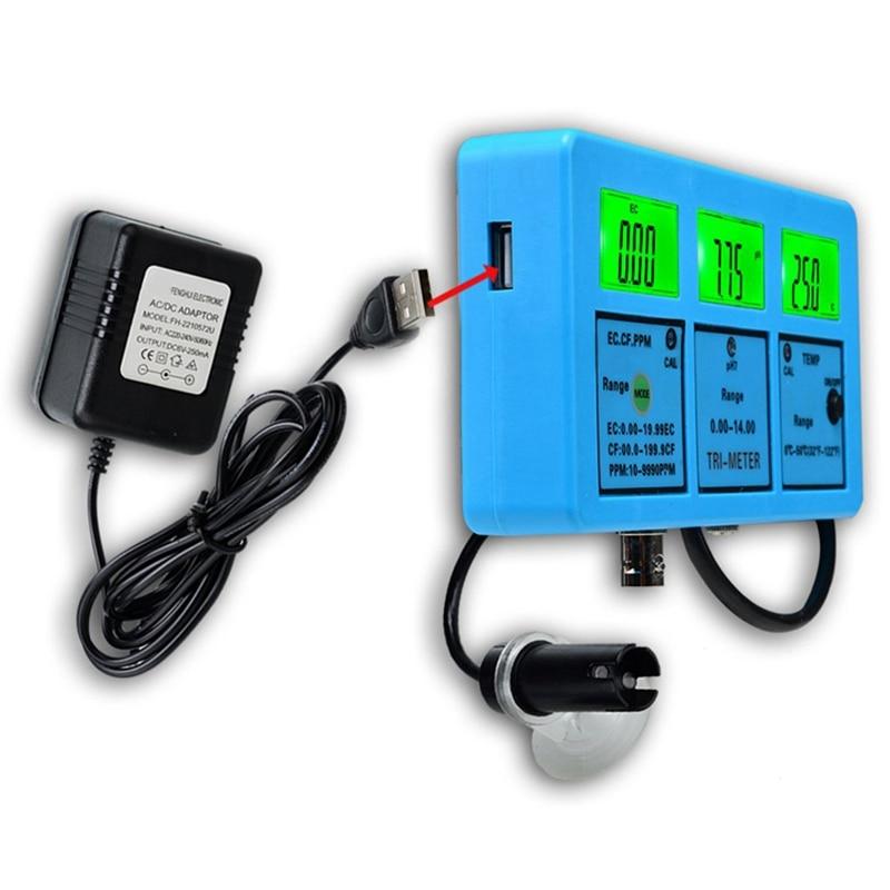 Eu Plug, multi Parameter Water Quality Monitor 5In1 Lcd Ph Ec Cf Tds Temperatuur Meter Online Aquarium Acidometer Groene Achtergrondverlichting - 4