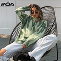 Aproms Мульти полосатый вязаный мягкий свитер для женщин осень зима длинный джемпер оверсайз пуловеры уличная Свободная верхняя одежда 2021