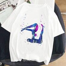 Женская футболка с принтом акварели acro yo ga летний белый